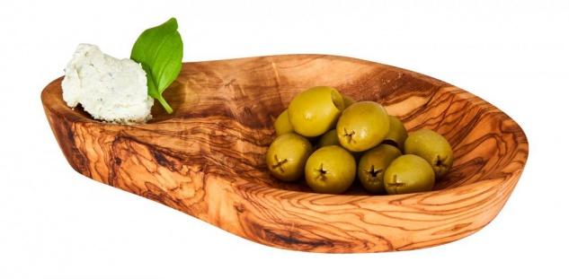 Olivenschale ca. 16x10cm Olivenholz Dip-Schale Antipasti Snackschale Natur Unikat Deko