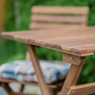 5tlg. Balkonmöbel Set Tisch Stühle Stuhlkissen Akazienholz Garten - Vorschau 5