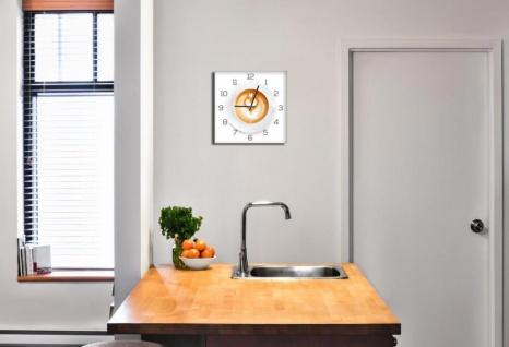 Wanduhr aus Glas 30x30cm Uhr als Glasbild Küche Cappuccino Coffee Deko - Vorschau 2