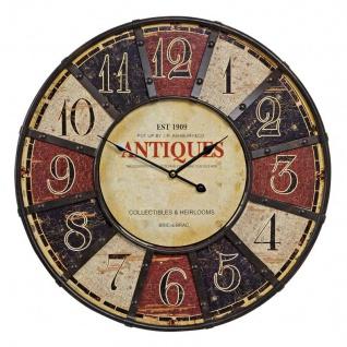 Wanduhr Metall XXL 58cm rund Antik Antiques bunt Vintage Shabby Chic Retro Uhr