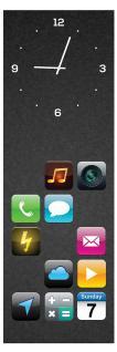 Wanduhr aus Glas 20x60cm Uhr als Glasbild Apps Smartphone Design Deko