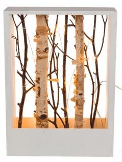 Holzrahmen 22x30cm Weiß Äste Birke LED Lichter Deko Zweige Weihnachtsdeko Deko