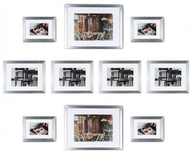 levandeo 10er Set Bilderrahmen 9x13cm, 13x18cm, 20x30cm Alu Optik Holz MDF