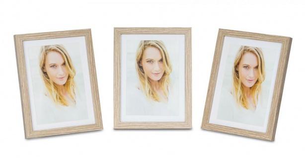 levandeo 3er Set Bilderrahmen 10x15cm Eiche gekälkt Holz MDF Glas Fotorahmen
