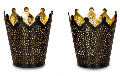 2er Set Teelichthalter Krone Schwarz Gold H11cm Metall Windlicht Kerzenhalter