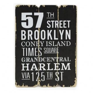 Wandbild 28x21cm Holz Schwarz Weiß Brooklyn Sprüche Shabby Chic Vintage Bild