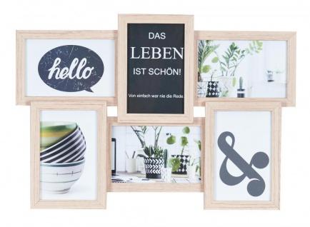 Bilderrahmen Collage 45x31cm 6 Fotos 10x15 Ahorn Natur MDF Holz Glasscheiben