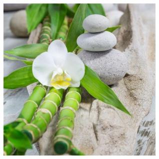 levandeo 2er Set Glasbild 30x30cm Buddha Weiße Orchidee Bambus Wandbild Deko - Vorschau 2
