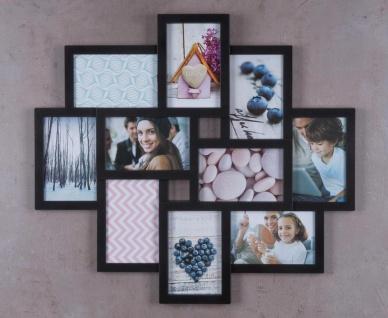 Bilderrahmen schwarz 10 Fotos Fotogalerie Fotocollage 3D Optik Collage - Vorschau 3