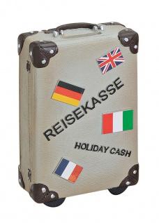 Spardose grau Sparkoffer Koffer Sparschwein Urlaubskasse Urlaub Sparen