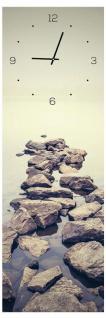 Wanduhr aus Glas 20x60cm Uhr als Glasbild Steine Meer Natur Dekoration