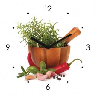 Wanduhr Glas 20x20cm Kräuter Schale Chili Uhr Glasbild Küche Küchenbild Deko