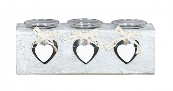 Teelichthalter 24x8x7cm 3 Kerzen Holz Shabby Chic Vintage Herz Deko Glas Licht