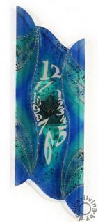 Design Wanduhr 50x16cm Blue Dream aus Glas Glasuhr Unikat Handarbeit