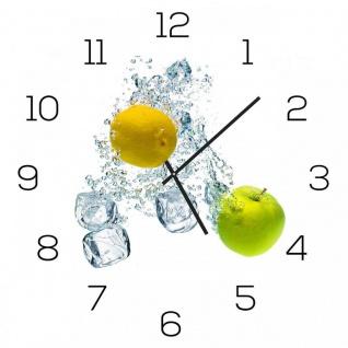 Wanduhr Alu-Dibond 30x30cm Uhr Alubild Küche Apfel Zitrone Zitrus Aluminium