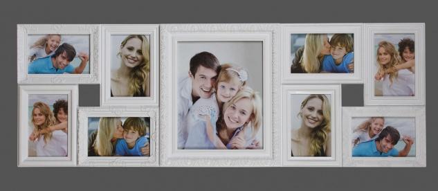 Bilderrahmen Barock in weiß Fotocollage Galerie für 9 Fotos 91x32cm
