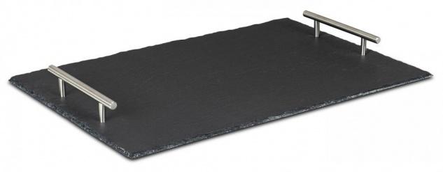 Tablett Schiefer 45x30cm Serviertablett Servierplatte Rechteckig Deko Tischdeko