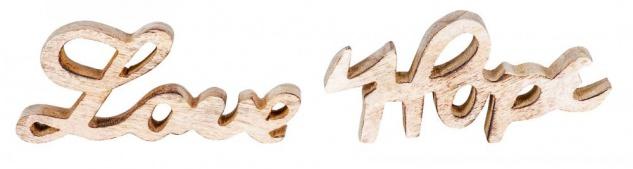 Schriftzug Set Love Hope BxH 14x7cm Braun Mango Holz Natur Deko Aufsteller Liebe