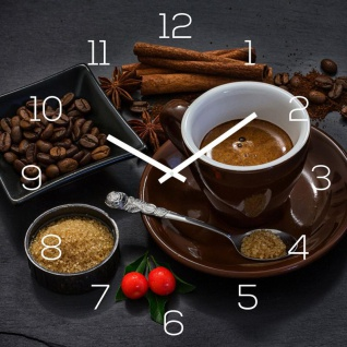 Wanduhr Glas 30x30cm Kaffee Braun Glasuhr Uhr Glasbild Küche Deko Coffee Cafe
