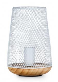 Tischlampe Metall Weiß H22cm Holz Lampe Standleuchte Leuchte Deko Tischdeko