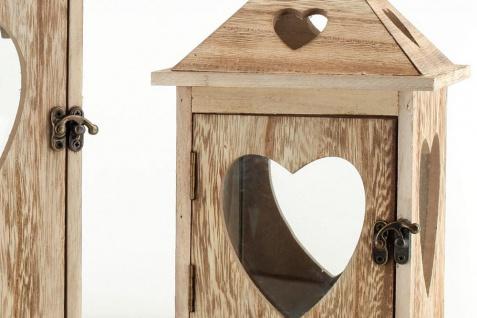 2tlg. Laternen Set Holz Herzen braun Glas Shabby Chic 24cm & 40cm 2er - Vorschau 5