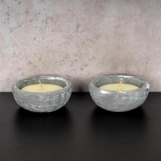 2er Set Kerze 17 x 17cm Kerzenwachs im Zement Topf Beton Grau Weiß Kerzen Deko - Vorschau 2