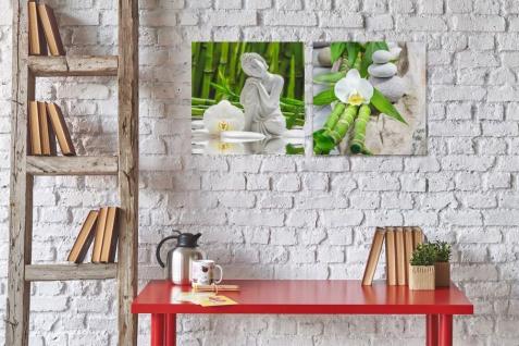 levandeo 2er Set Glasbild 30x30cm Buddha Weiße Orchidee Bambus Wandbild Deko - Vorschau 4