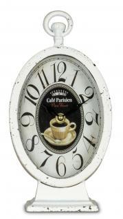 Tischuhr Uhr Standuhr Metall Landhaus used look Shabby Chic weiß Paris
