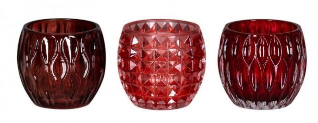 3er Set Windlichter 10x8, 5cm Rot Glas Deko Teelichthalter Kerze Tischdeko Retro