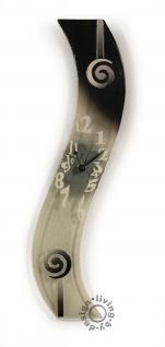 Design Wanduhr Glas 50x8cm Sabbia schwarz und weiß - Unikat Glasuhr
