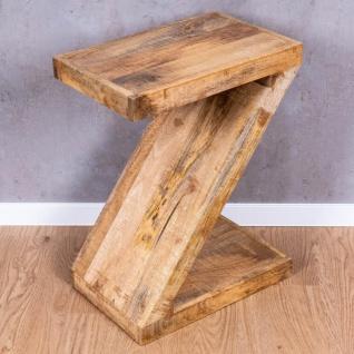 Beistelltisch Z Mango H60cm Holz Braun Natur Massiv Couchtisch Sofatisch Ablage - Vorschau 2