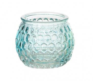 3er Set Windlichter 6x5cm Grün Blau Rosa Glas Deko Frühling Teelichthalter Kerze - Vorschau 2
