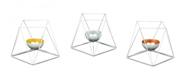 3er Set Teelichthalter Metall Windlicht Weiß Kerzenständer Deko Tischdeko