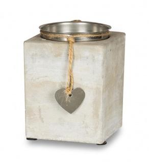 2er Set Kerzenständer Beton Je 13cm Hoch Kerzenleuchter Grau Kerzenhalter Deko - Vorschau 3