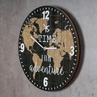 Wanduhr 30x30cm Uhr Holz Braun Küchenuhr Weltkarte Wanddeko Deko Zahlen Map - Vorschau 3