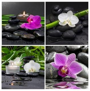 Glasbild 4er Set je 30x30cm Wandbild Glas lila Orchideen Blume Wanddeko Wellness