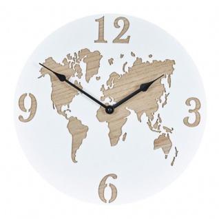 Wanduhr 30x30cm Uhr Holz Weiß Küchenuhr Weltkarte Wanddeko Deko Zahlen Map