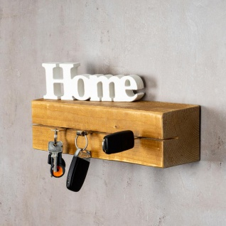 levandeo Schlüsselbrett Holz Massiv 35x10cm Eiche lackiert Schlüsselleiste Board - Vorschau 2