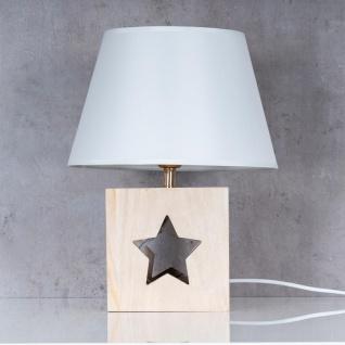 Lampe Tischlampe H41cm Holz Holzlampe Stern Leuchte Deko Tischleuchte Tischdeko - Vorschau 3
