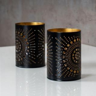 2er Set Teelichthalter Rund Schwarz Gold H11cm Metall Windlicht Kerzenhalter - Vorschau 3