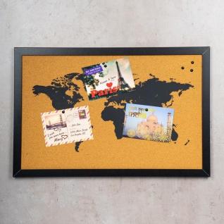 Gerahmte Pinnwand 60x40 Kork-Platte Holzrahmen Weltkarte Map Deko Schwarz - Vorschau 2