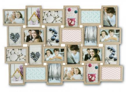 levandeo Bilderrahmen Collage 84x57cm 24 Fotos 10x15 Eiche gekälkt Holz MDF Glas
