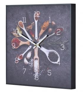 Wanduhr 30x30cm Uhr PVC Rahmen Schwarz Gewürze Küche Kräuter Wanddeko Küchenuhr
