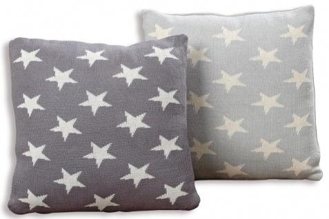 Kissen Set Sterne Star grau 40x40 Baumwolle Sofakissen Dekokissen