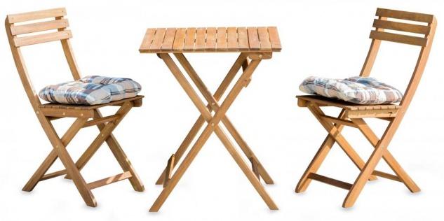5tlg. Balkonmöbel Set Tisch Stühle Stuhlkissen Akazienholz Garten - Vorschau 1