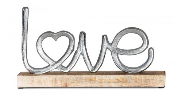 Aufsteller Mango Schriftzug Love H17cm Metall Holz Deko Mangoholz Tischdeko