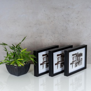 levandeo 3er Set Bilderrahmen 13x18cm Schwarz Holz MDF Glasscheiben Rahmen - Vorschau 3