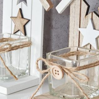 2er Set Teelichthalter H16, 5cm Glas Windlicht Stern Weiß Taupe Haus Holz Deko - Vorschau 4