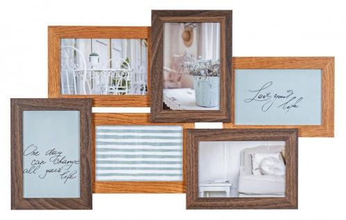 Bilderrahmen 53x33cm 6 Fotos 10x15 MDF Holz Braun Glas Collage Deko Fotorahmen