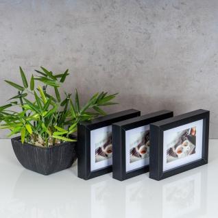 levandeo 3er Set Bilderrahmen 9x13cm Schwarz Holz MDF Glasscheiben Rahmen - Vorschau 3